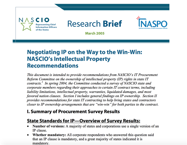 Negotiating IP on the Way to the Win-Win: NASCIO's Intellectual Property Recommendations